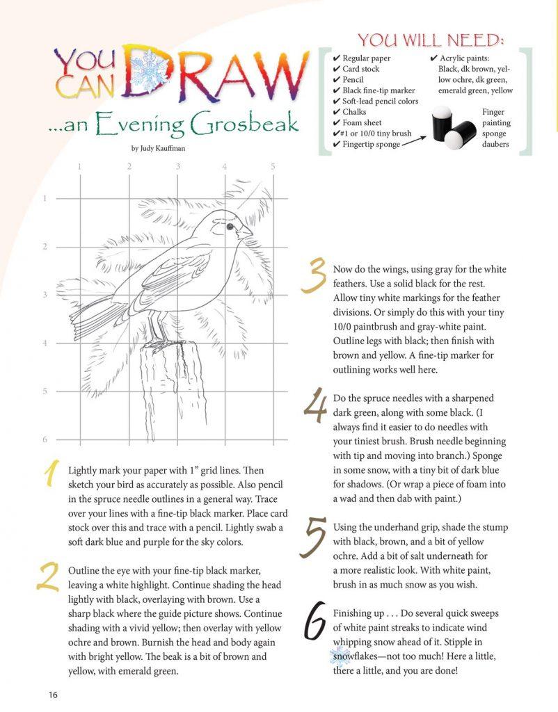 You Can Draw art lesson, Evening Grosbeak